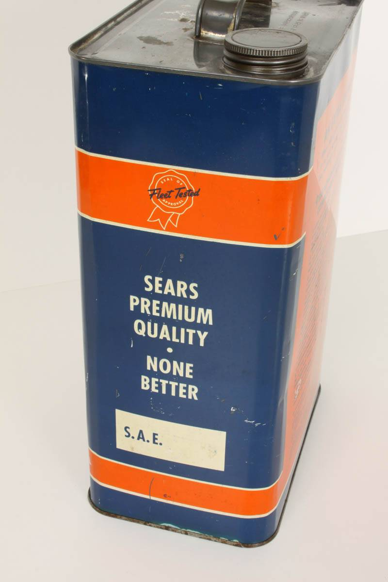 Allstate 2 5 gallon can motor oil can sears tin for Gallon of motor oil price