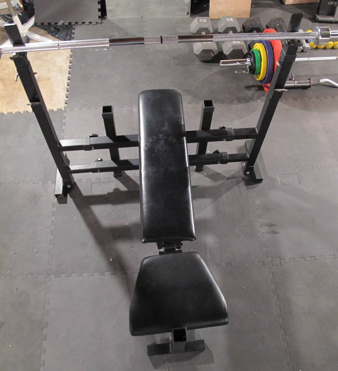 Gold Gym Bench Press With 45 Lb Bar And Weight Clamps