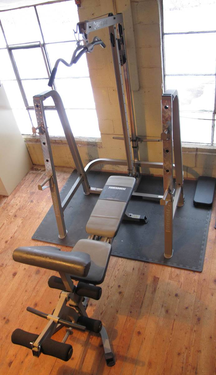 Powerhouse Rack And Overhead Pulldown With Weight Bench
