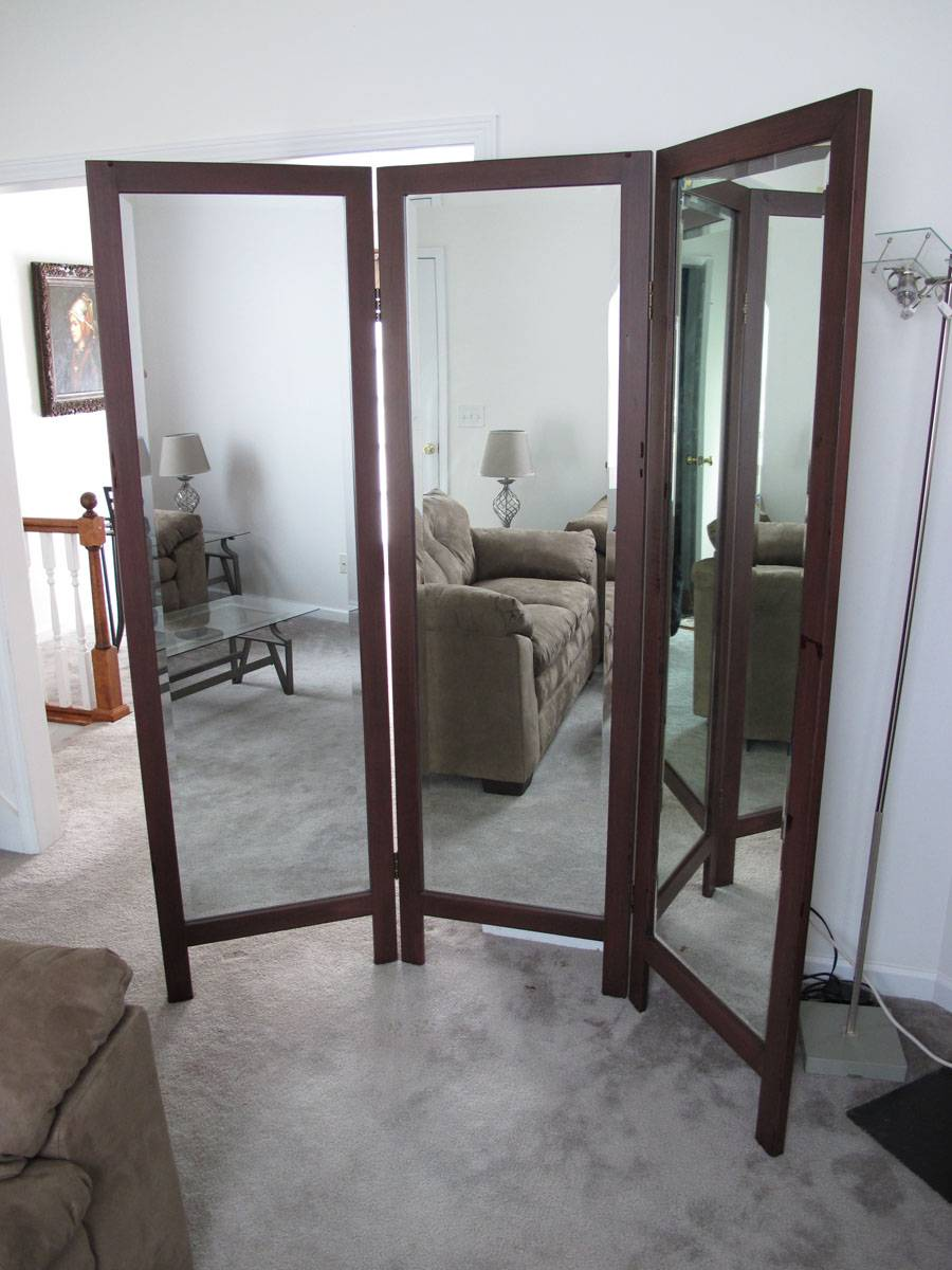 Trifold mirror floorstanding tri fold large 3 panel ebay for Tri fold mirror