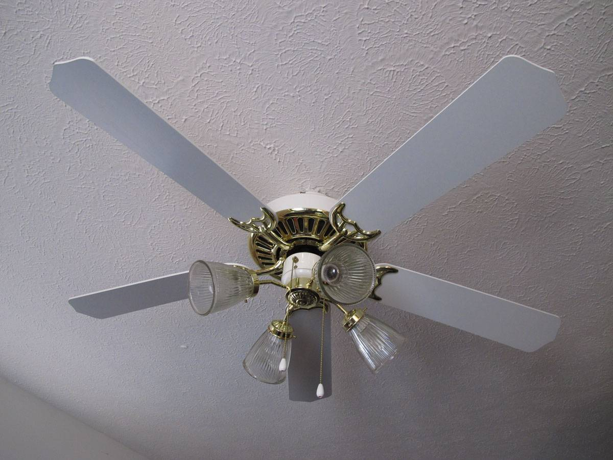 Ceiling Fan 5 Blade 52 Inch 4 Lights Polish Brass Finish